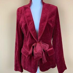 WHBM red velvet ribbon tie jacket blazer